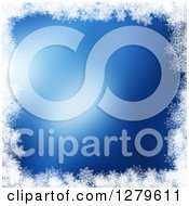Clipart Of A Blue Christmas Background Bordered In White Snowflakes Royalty Free Illustration