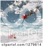 Clipart Of 3d Santa Flying His Magic Sleigh Over A Reindeer With Gifts On A Snowy Mountain Royalty Free Illustration