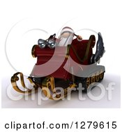 Clipart Of A 3d Christmas Sleigh With Santa Holding Reins On Shaded White Royalty Free Illustration