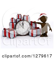 Clipart Of A 3d Brown Man Wearing A Santa Hat By A Giant New Year Clock And Gifts Royalty Free Illustration