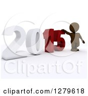 Clipart Of A 3d Brown Man By A Giant New Year 2015 Royalty Free Illustration