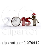 Clipart Of A 3d Brown Man Wearing A Santa Hat By A Giant New Year 2015 With A Clock Royalty Free Illustration