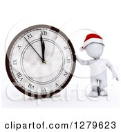 Clipart Of A 3d White Man Checking The Time And Leaning Against A Giant New Year Count Down Clock Royalty Free Illustration