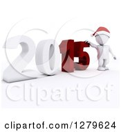 Clipart Of A 3d White Man Wearing A Santa Hat By A Giant New Year 2015 Royalty Free Illustration