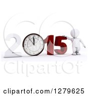 Clipart Of A 3d White Man By A Giant New Year 2015 With A Clock Royalty Free Illustration