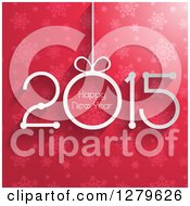 Clipart Of A Suspended 2015 With Happy New Year Text Over Pink Stars And Snowflakes Royalty Free Vector Illustration