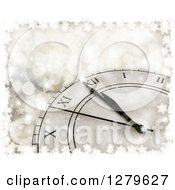 Clipart Of A 3d New Year Count Down Wall Clock Approaching Midnight Over Blue Bokeh In A Frame Of Snowflakes Royalty Free Illustration
