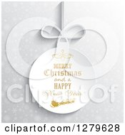 Clipart Of A Suspended White Paper Merry Christmas And A Happy New Year Greeting With Santa Over Silver Snowflakes Royalty Free Vector Illustration
