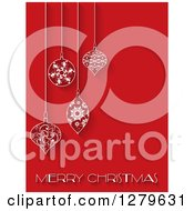 Clipart Of A Merry Christmas Greeting Under Suspended Ornate Baubles On Red Royalty Free Vector Illustration