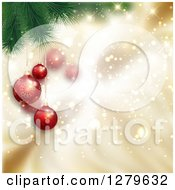 Clipart Of A Christmas Background Of 3d Suspended Red Ornaments On Branches Over Magic Gold Sparkles Royalty Free Vector Illustration