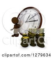 3d Brown Man Leaning Against A Clock By Stacks Of Money Coins Time Is Money