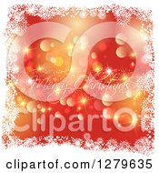 Clipart Of A Cursive Gold Merry Christmas Greeting Over Red With Bokeh Flares In A Frame Of Snowflakes Royalty Free Vector Illustration