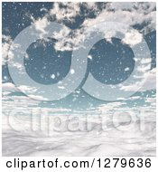 Clipart Of A 3d Snowy Winter Landscape With Mountains And Blue Sky Royalty Free Illustration