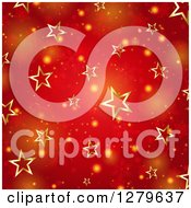 Clipart Of A Christmas Background Of Gold Stars Over Red With Snowflakes And Flares Royalty Free Vector Illustration