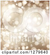 Clipart Of A Golden Christmas Background Of Bokeh Lights Royalty Free Vector Illustration
