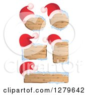 Clipart Of Santa Hats On Wooden Christmas Signs With Snow Royalty Free Vector Illustration