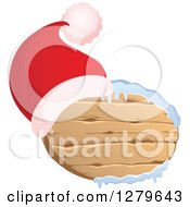 Clipart Of A Santa Hat On An Oval Wooden Christmas Sign With Snow Royalty Free Vector Illustration