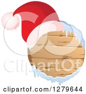 Clipart Of A Santa Hat On A Round Wooden Christmas Sign With Snow Royalty Free Vector Illustration