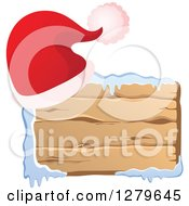 Clipart Of A Santa Hat On A Horizontal Wooden Christmas Sign With Snow Royalty Free Vector Illustration