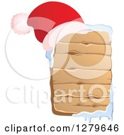 Clipart Of A Santa Hat On A Vertical Wooden Christmas Sign With Snow Royalty Free Vector Illustration
