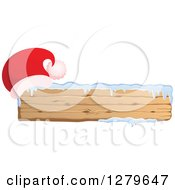 Clipart Of A Santa Hat On A Long Wooden Christmas Sign With Snow Royalty Free Vector Illustration