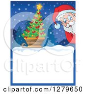 Clipart Of Santa Claus Peeking Over A Blank Christmas Sign With A Tree In A Sleigh In The Snow Royalty Free Vector Illustration