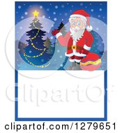 Clipart Of Santa Claus Waving By A Tree Over A Blank Christmas Sign In The Snow Royalty Free Vector Illustration