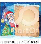 Clipart Of Santa Claus Looking Around A Christmas Vintage Parchment Page Scroll Over A Winter Village And Tree Royalty Free Vector Illustration