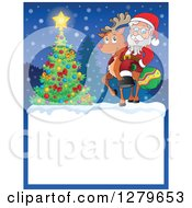 Clipart Of Santa Claus And Rudolph By A Christmas Tree Over A Blank Sign In The Snow Royalty Free Vector Illustration
