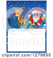 Clipart Of Santa Claus And Rudolph Pulling A Sleigh Over A Blank Christmas Sign In The Snow Royalty Free Vector Illustration by visekart