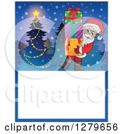 Clipart Of Santa Claus Carrying Gifts By A Tree Over A Blank Christmas Sign In The Snow Royalty Free Vector Illustration