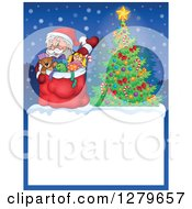 Clipart Of Santa Claus Waving With A Sack Over A Blank Christmas Sign With A Tree In The Snow Royalty Free Vector Illustration