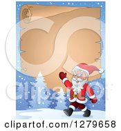 Clipart Of Santa Claus Walking And Waving In Front Of A Christmas Vintage Parchment Page Scroll In A Winter Landscape Royalty Free Vector Illustration