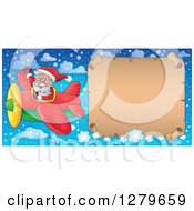 Clipart Of Santa Claus Flying An Aerial Christmas Parchment Page Scroll Banner In A Winter Sky Royalty Free Vector Illustration