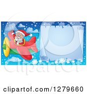 Clipart Of Santa Claus Flying A Frozen Aerial Christmas Parchment Page Scroll Banner In A Winter Sky Royalty Free Vector Illustration