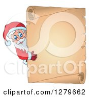 Clipart Of Santa Claus Looking Around A Christmas Vintage Parchment Page Scroll Royalty Free Vector Illustration