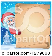 Clipart Of Santa Claus Looking Around A Christmas Vintage Parchment Page Scroll In A Winter Background Royalty Free Vector Illustration