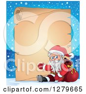 Clipart Of Santa Claus Sitting And Waving In Front Of A Christmas Vintage Parchment Page Scroll In A Winter Landscape Royalty Free Vector Illustration