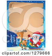 Clipart Of Santa Claus And A Reindeer In Front Of A Christmas Vintage Parchment Page Scroll And Winter Landscape Royalty Free Vector Illustration
