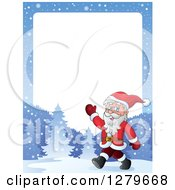 Clipart Of Santa Claus Walking And Waving On A Snowy Winter Landscape Border Royalty Free Vector Illustration