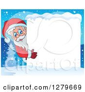 Clipart Of Santa Claus Looking Around A Blank White Sign Over A Winter Village At Night Royalty Free Vector Illustration
