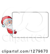 Clipart Of Santa Claus Looking Around A Blank White Sign Royalty Free Vector Illustration