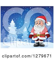 Clipart Of Santa Claus Standing In A Snowy Forest Winter Landscape Royalty Free Vector Illustration