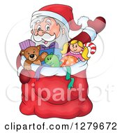 Clipart Of Santa Claus Waving Behind A Full Sack Of Gifts And Toys Royalty Free Vector Illustration