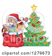 Clipart Of Santa Claus Waving Behind A Full Sack Next To A Christmas Tree In A Winter Village Royalty Free Vector Illustration