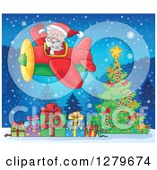Clipart Of Santa Claus Waving And Flying A Plane Over A Christmas Tree And Gifts Royalty Free Vector Illustration