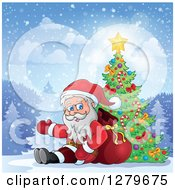 Clipart Of Santa Claus Sitting And Waving By A Christmas Tree In A Forest Royalty Free Vector Illustration