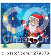 Clipart Of Santa Claus Walking And Waving In A Winter Village Royalty Free Vector Illustration