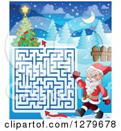 Clipart Of Santa Claus Walking And Waving By A Christmas Maze Royalty Free Vector Illustration by visekart