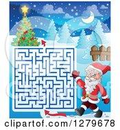 Clipart Of Santa Claus Walking And Waving By A Christmas Maze Royalty Free Vector Illustration